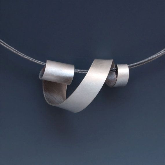 "Necklace | Wendy Walsh.  ""Ribbon"".   Sterling silver and stainless steel cable  Very Pretty ...love this"
