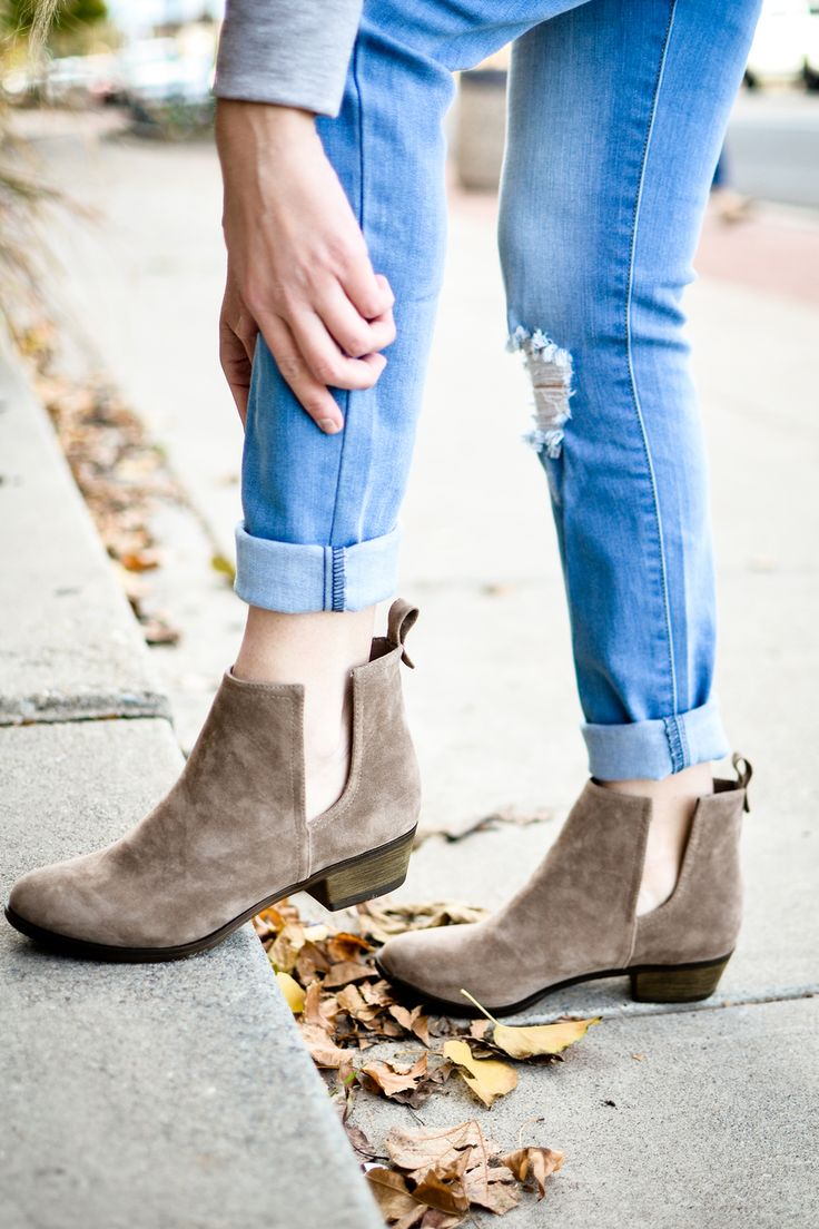Beige Ankle Boot With Cutout