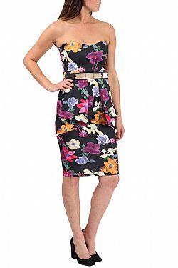 floral peplum midi στράπλες φόρεμα patricia σε μαύρο
