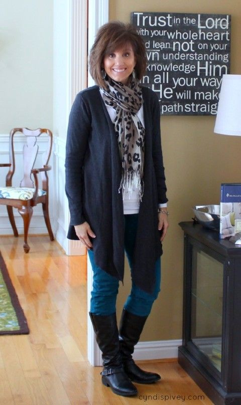 Modify: shoe booties, blacks and whites with a colour scarf?  Black denim.  Fashion Over 40-Winter Fashion