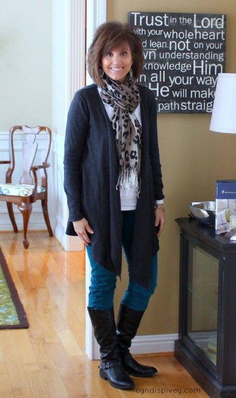 Modify: shoe booties, blacks and whites with a colour scarf?  Black denim.  Fashion Over 40-Winter Fashion