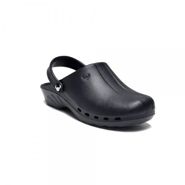 Black Suecos Nurse Clogs  Comfortable and practical, the Oden shoe is great as it is made of material that adapts to the foot. It is antibacterial, resistant to hydrocarbon, dissolvent, lactic acid, blood, water, saline water and detergentand shock absorbant. There is an adjustable strap at the back that can be worn up or down, a non-slip, non-marking sole and insole nubs that stimulate blood flow. £29.99    #nursesshoes #nursesclogs #dentalshoes #dentalclogs #shoes #clogs
