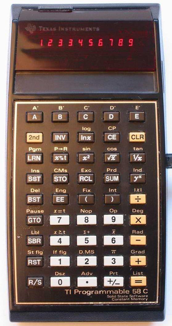 Scientific programmable calculator: Texas Instruments TI-58C