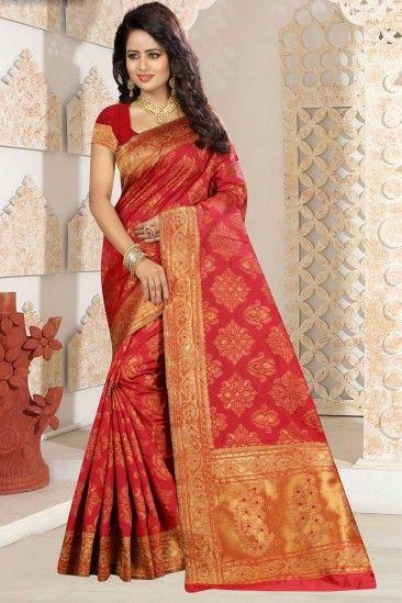 Stylish Red Kanjivaram Silk Saree With Kanjivaram Silk Blouse - DMV12491