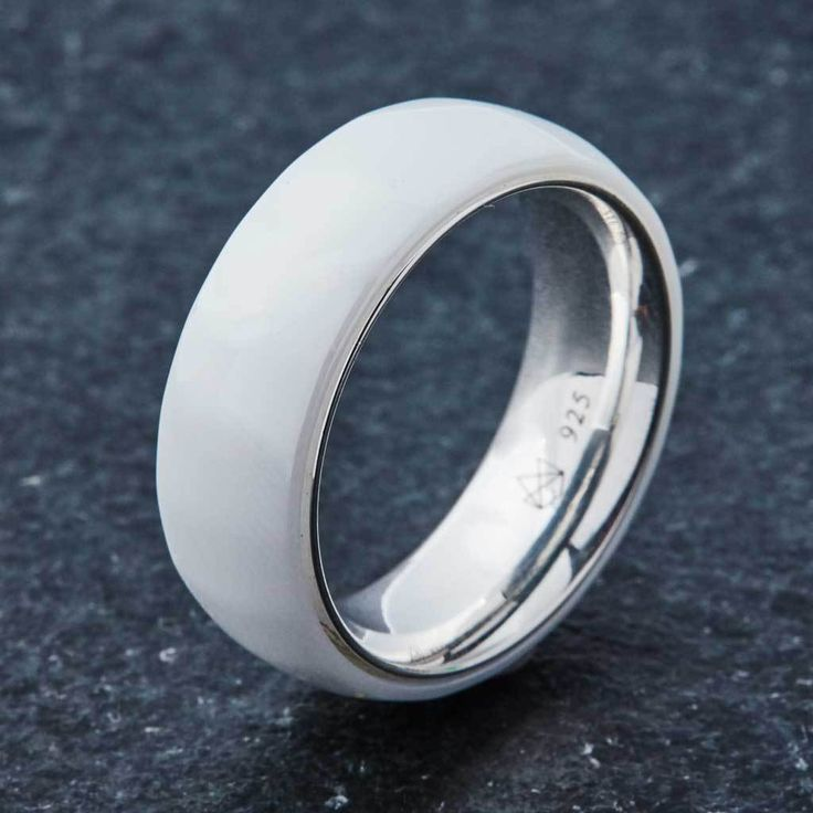 360° View Ceramic Ring Design Notes 8MM Width High PolishedShine Sterling Silver Interior Smooth Comfort Fit Cobalt Free (No Allergy Reactions) CeramicExterio