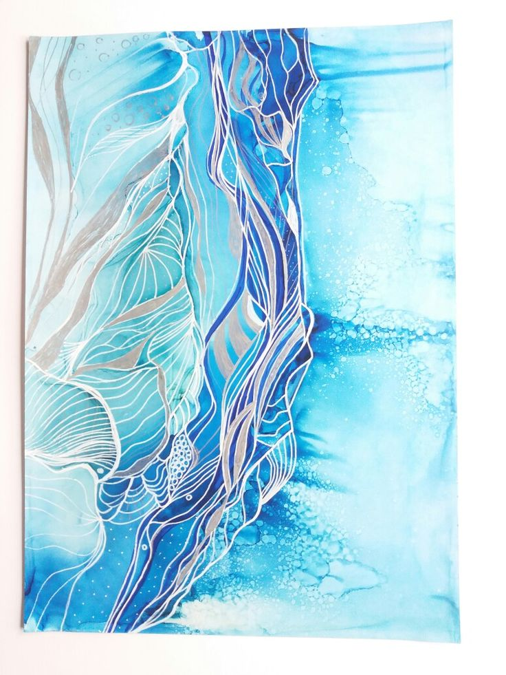 Abstract blue ink, sea scape by joanne neville