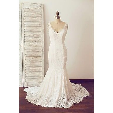 Trumpet / Mermaid Wedding Dress Chapel Train V-neck Lace with Lace / Pearl – USD $ 169.99