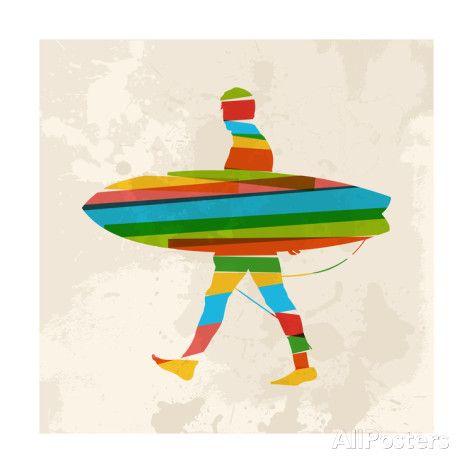 Vintage Multicolor Surfer - Affischer av cienpies på AllPosters.se