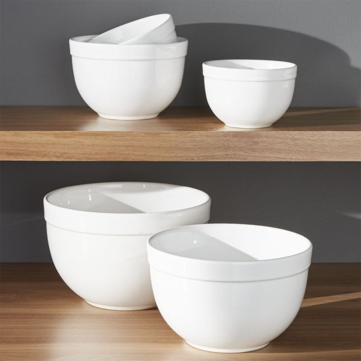 "Free Shipping.  Shop Nesting Mixing Bowl Set 5-Piece, 5. 5""-9. 75"".  Deep nesting bowls with broad rims mix, serve and display in white high-fired earthenware."