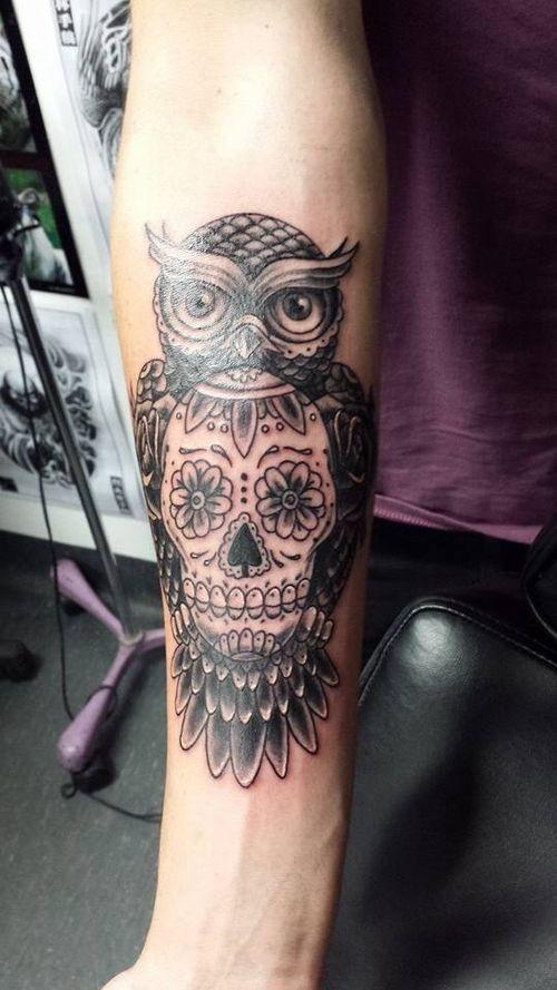 Sugar skull owl tattoo tattoo tattoo pinterest this for Owl with sugar skull tattoo