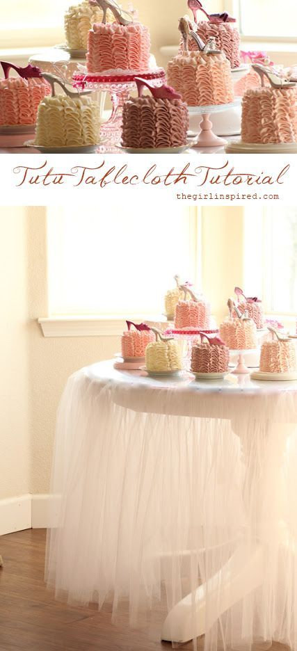 Tutu Tablecloth - Tutorial | Girl. Inspired. These Would Make Lovely Wedding Or Bridal Shower Tablecloths ❣ http://thegirlinspired.com/2012/10/tutu-tablecloth-tutorial/