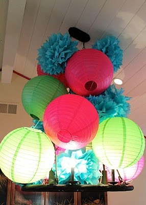 Puffs and lanterns...cheep way to add color!