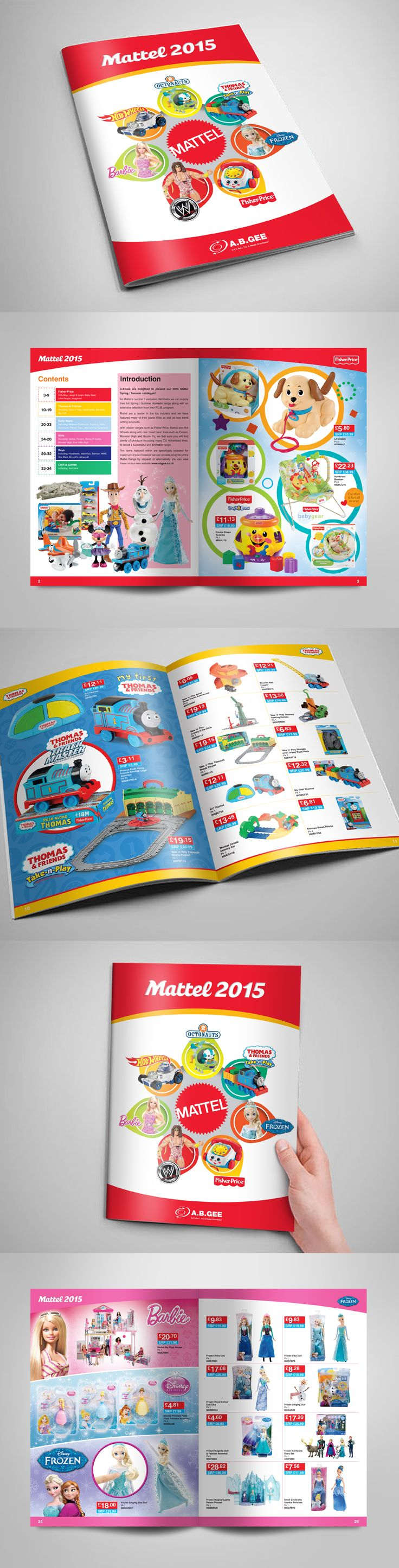 Toy catalogue specific to the Mattel brand, with feature pages for key ranges, such as Thomas the Tank Engine.