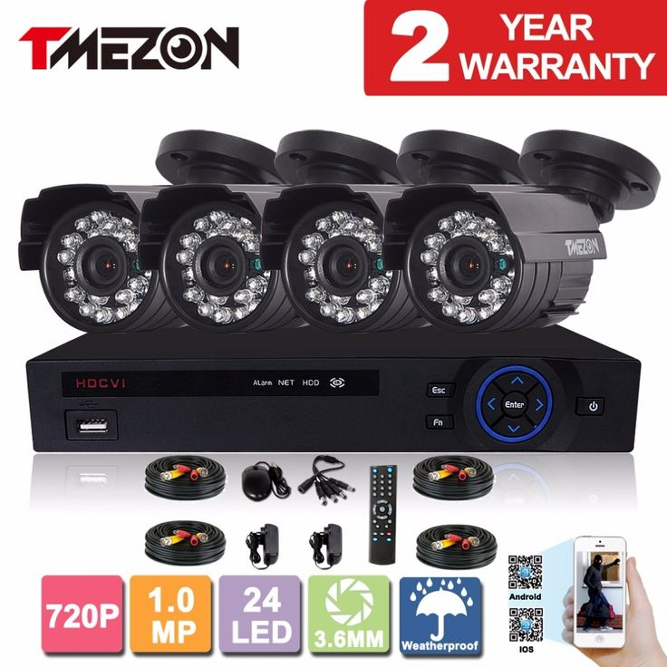 159.99$  Buy here - http://aliies.worldwells.pw/go.php?t=32649246179 - Tmezon HD CVI 4CH 1.0MP 720P CCTV Security System 4pcs Day Night Waterproof IR Camera Alarm Systems Security Home Kit 1TB 2TB 159.99$