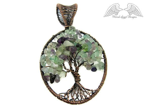 Albero della vita Collana/Fluorite/filo avvolto collana di gioielli/rame gioielli/fili gioielli fatti a mano/filo avvolto albero della vita pendente/Boho