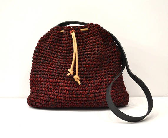 Crochet crossbody bag Bucket bag Drawstring bag