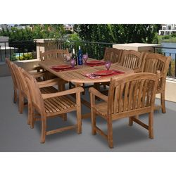 @Overstock.com.com - Cannes Deluxe 9-piece Teak Dining Set - Entertain all of your family and friends at this outdoor Teak Dining set, featuring an oval extendable table and eight high-back 'Captains' chairs. Constructed out of quality, light brown teak wood, the Cannes Deluxe set is built to last.   http://www.overstock.com/Home-Garden/Cannes-Deluxe-9-piece-Teak-Dining-Set/4676033/product.html?CID=214117 $2,359.99