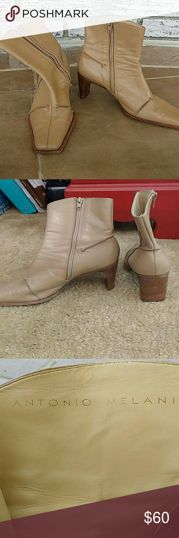 Boots These absolutely beautiful tan leather ankle boots would look great with almost anything and any time of year. They have a 3 1/4 inch heel and square toe. They also  have a side zipper. A little wear see pics still perfectly great. ANTONIO MELANI Shoes Heeled Boots