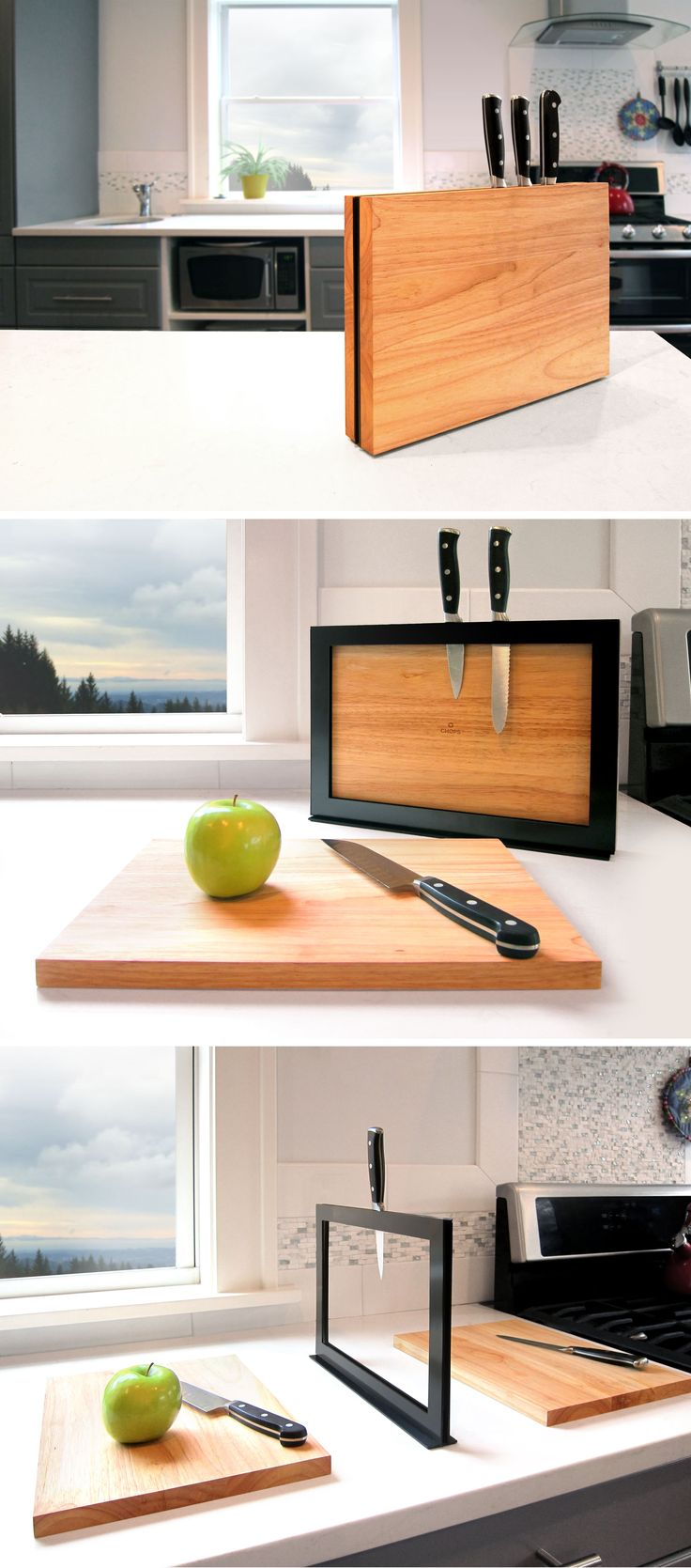 Chops consists of two solid wood cutting boards that magnetically connect to two sides of a knife rack. It's a perfect place to store and dry your cutting boards. Its base keeps the stand stable, with or without cutting boards attached.   http://ilovehandles.com/shop/chops/