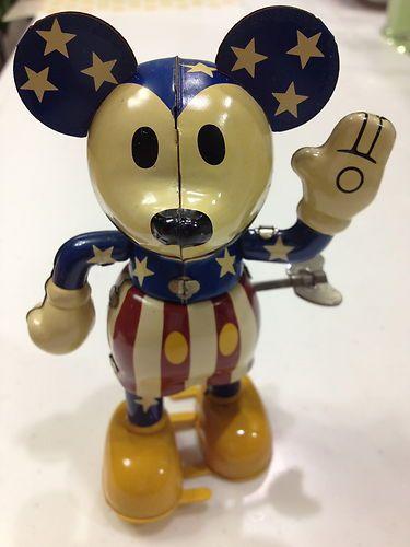 Vintage mickey mouse tin toy Figure Disney