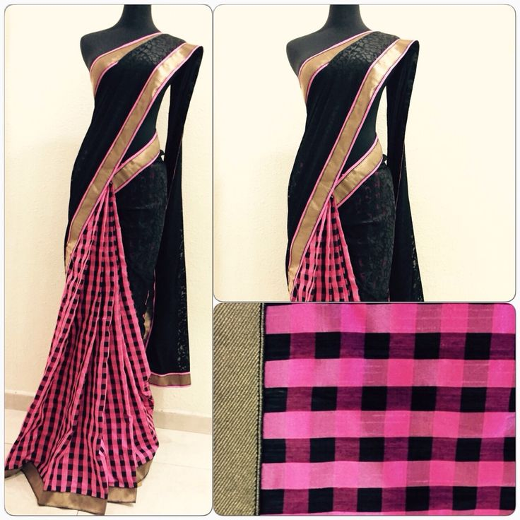 Pink & black checked half and half Saree Price : 107 SGD