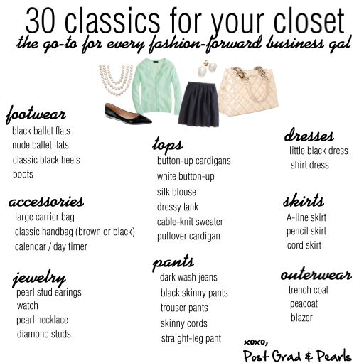 Wear-to-Work Classics  Build your own wear-to-work wardrobe with this check-list of the classics!  postgradandpearls.com | postgradandpearls.tumblr.com