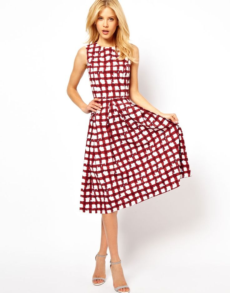 Skater Dress In Check Print