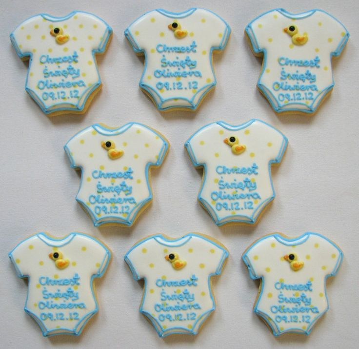 Oliwier's christening cookies baby boy duck onesie