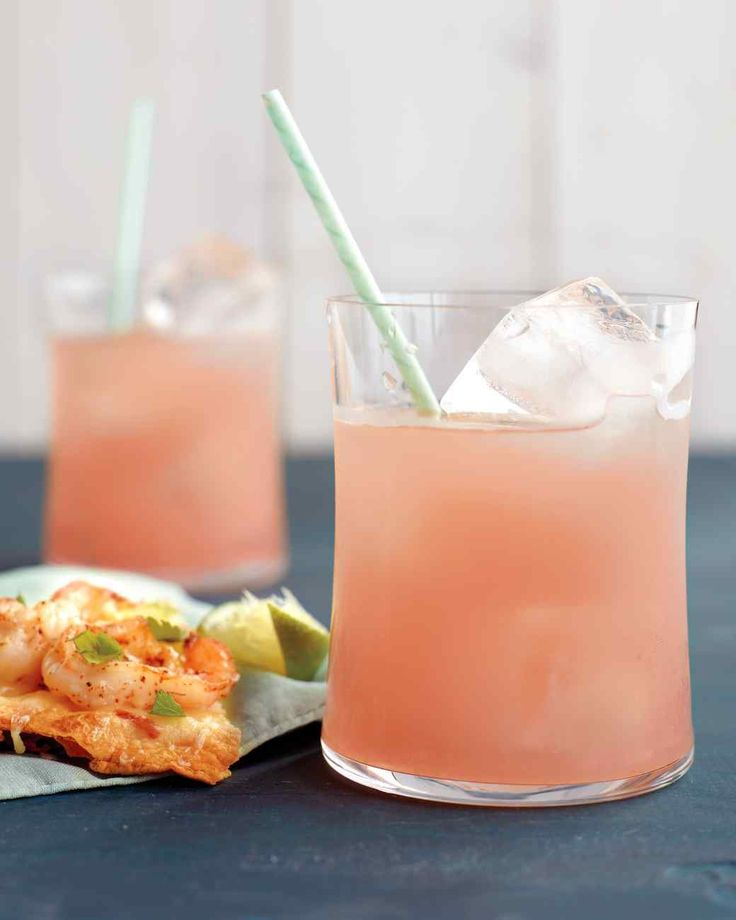 Ruby Red Tequila Cocktails | Martha Stewart Living - This delightfully pink drink is served over ice.