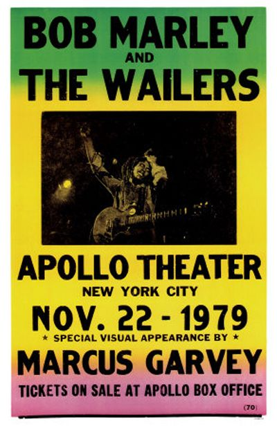 Bob Marley : Bob Marley and The Wailers Vintage Poster: Apollo Theater 1979 with a special appearance by Marcus Garvey