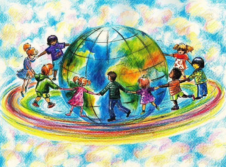 Gyermekek Különböző Versenyeken Futó Szivárványos Körül A Föld Bolygón Royalty Free Stock-fotók, Képek és Stock-fotózás. Image 18912169.