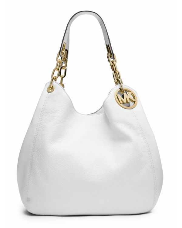 e2df618a5d7ba2 Сумка MICHAEL Michael Kors Fulton Large Leather Shoulder Bag Optic White  #michaelkorsblackandwhitebag