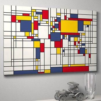 Mondrian-inspired world map art print by artPause