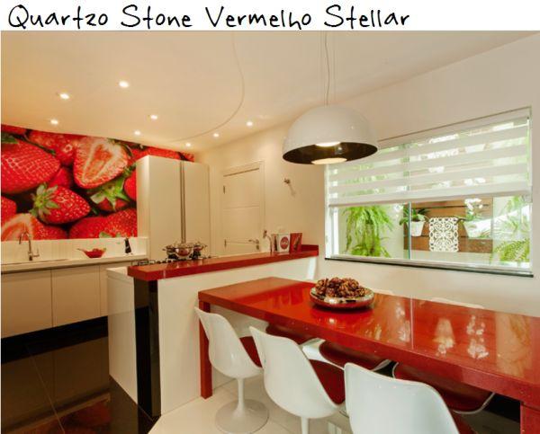 cozinha quartzo stone vermelho stellar silestone