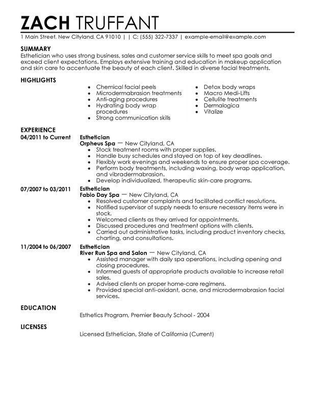 Esthetician Resume Examples {Created by Resume Examples Office