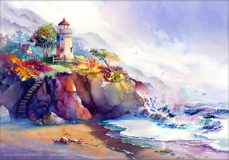 Coastal Colors Lighthouse Watercolor от MichaelDavidSorensen