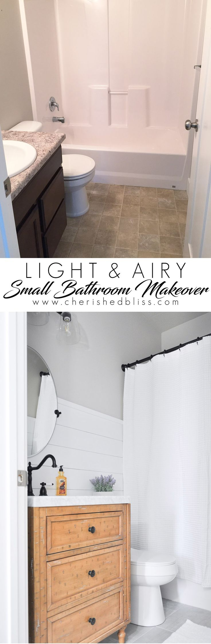 This light and airy bathroom is the perfect way to transform a small stuffy space into the perfect Modern Farmhouse Bathroom.