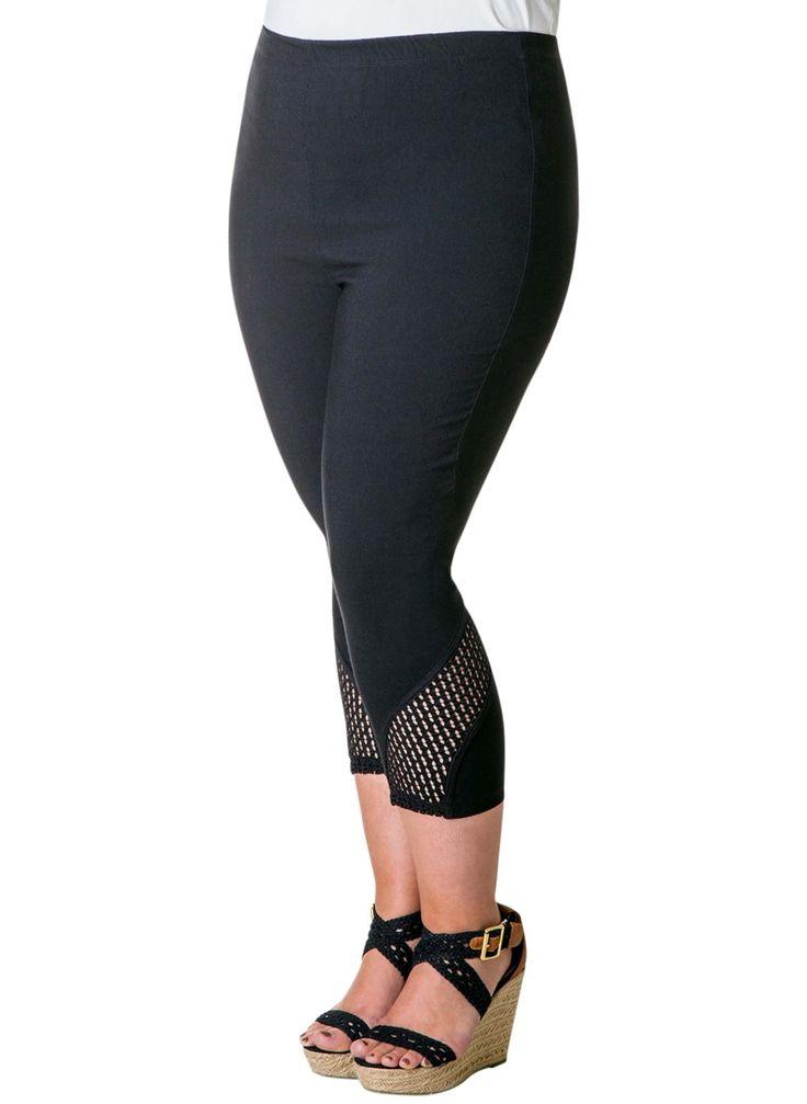 Lækre Sorte Capri Leggings med Flot Effekt Red Modetøj til Damer til hverdag og til fest
