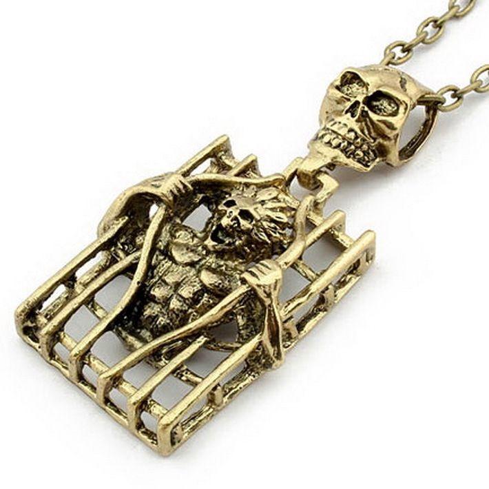 горячая продажа новые дешевые готический ожерелье мода корейский ретро сплава серебро/позолоченные человеческий скелет свитер цепи кулон ожерелья 149,09