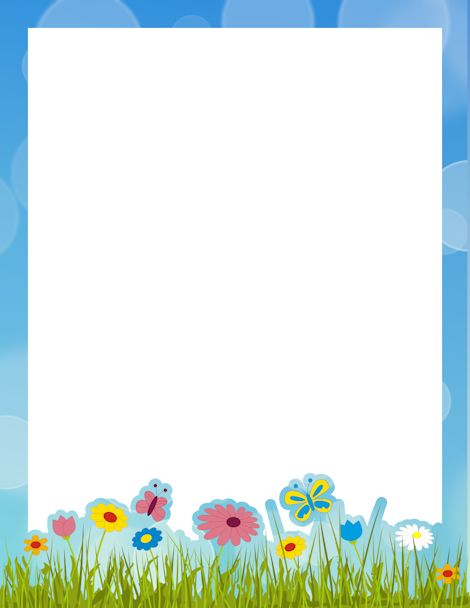 Printable spring border. Free GIF, JPG, PDF, and PNG downloads at http://pageborders.org/download/spring-border/. EPS and AI versions are also available.