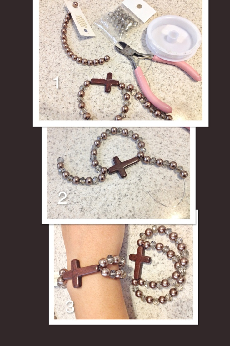 DIY cross bracelet  Could do similar with a key