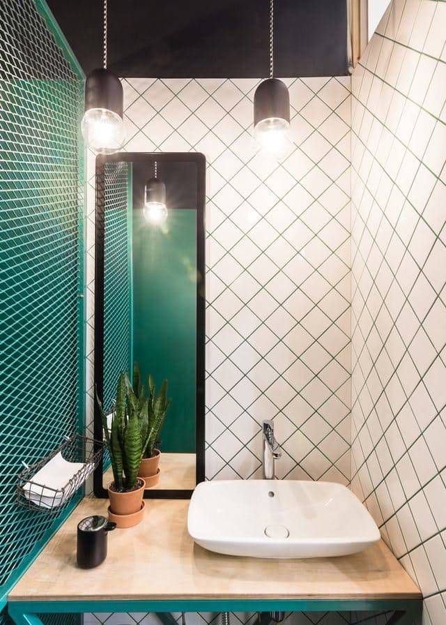 green black and white bathroom