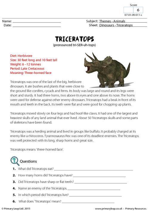 fact sheet triceratops worksheet english printable worksheets. Black Bedroom Furniture Sets. Home Design Ideas