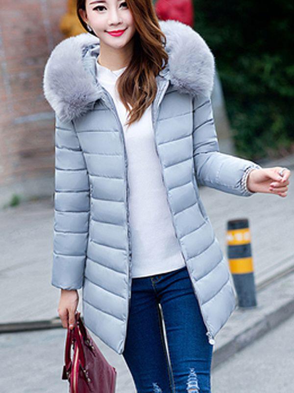 気質アップシンプル 全9色ファーフード付きファスナーポケット付きスリムアウター秋冬暖かい無地ダウンコート - レディースファッション激安通販|20代·30代·40代ファッション