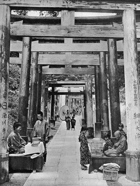 "tofuist:  A Torii path at Inari from ""In lotus-land Japan"", 1910 by H.G.Ponting"