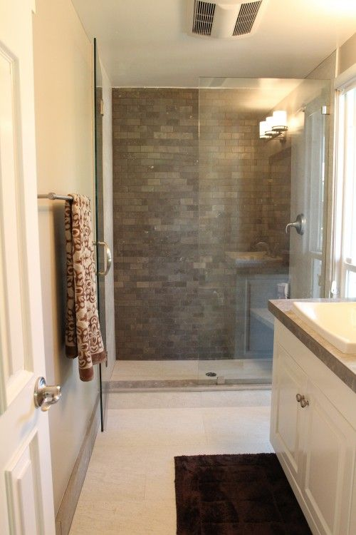 like the look of a brick accent wall  bathrooms  Brown bathroom Slate bathroom Bathroom