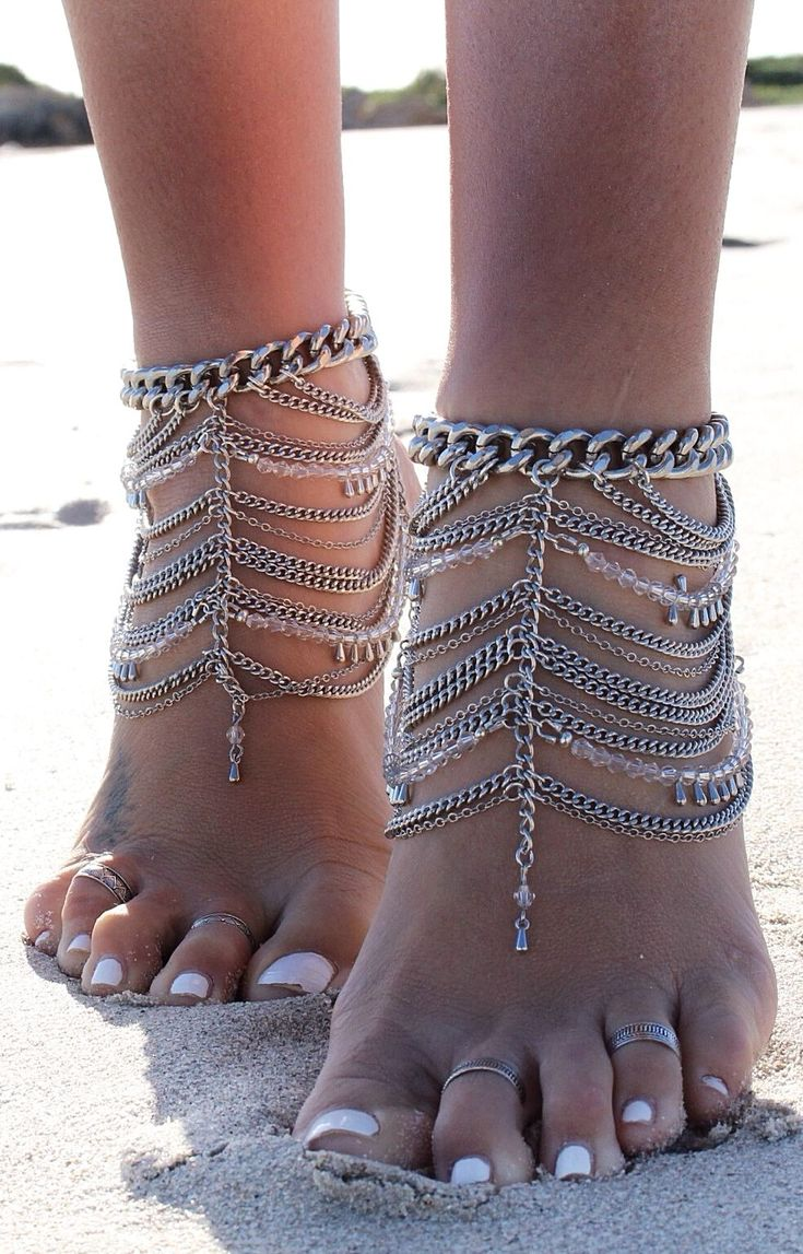 Embella Silver Boho Inspired ankle chain