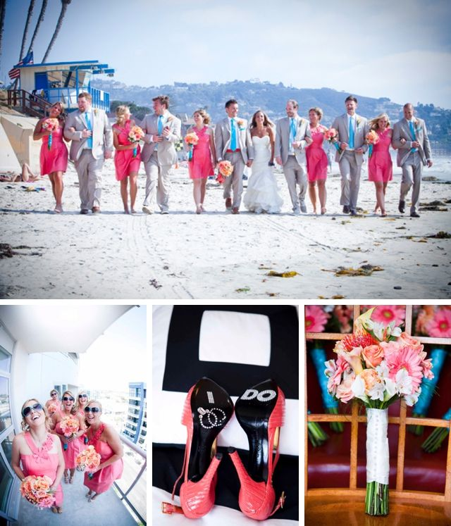 A coral and teal beach wedding in La Jolla by Brett Charles Rose Photography || see more on artfullywed.com