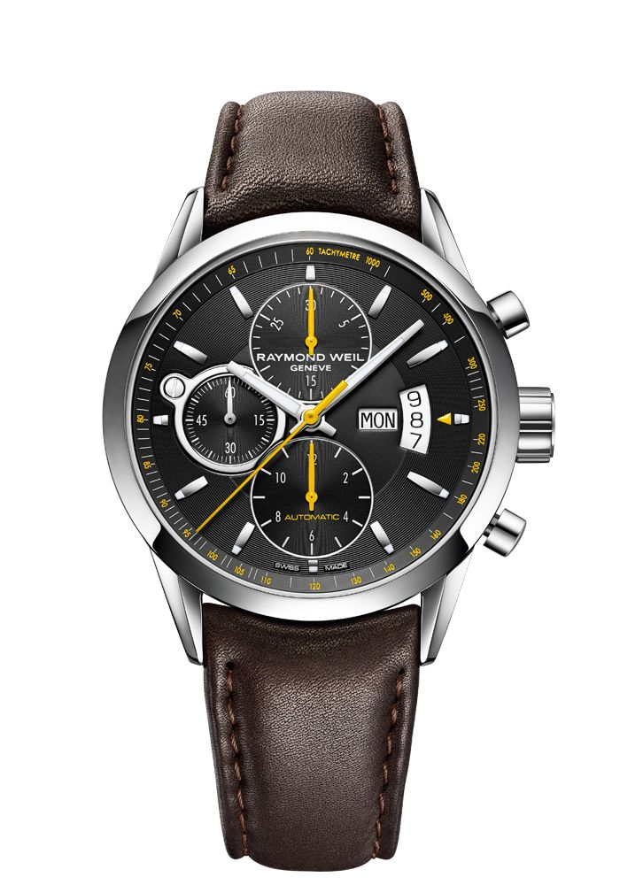 Freelancer 7730-STC-20021 Mens Watches - Automatic chronograph Steel on leather strap black dial  http://www.raymond-weil.com/en/mens-watches/watch-finder/freelancer/freelancer-7730-stc-20021/