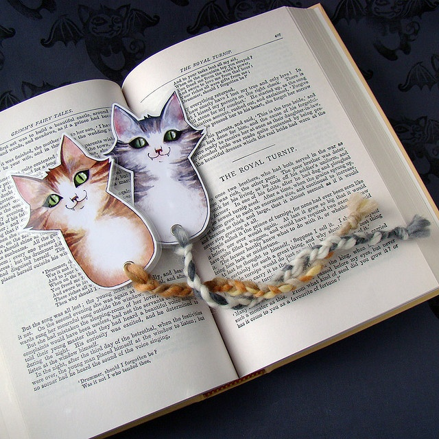 Gray and Orange Cat Bookmarks